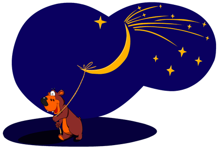 Cheerful bear pulling the rope of the moon. Stock Illustratie