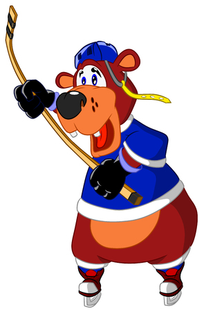 Cheerful bear playing hockey with a puck Stock Illustratie