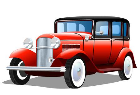 Viejo coche retro sobre fondo blanco, ilustración vectorial Ilustración de vector