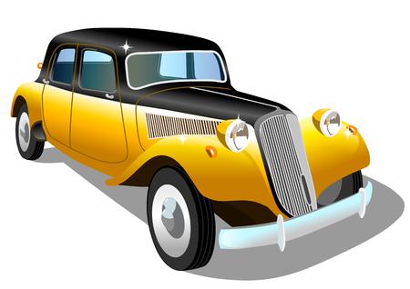 Old retro car on white background, vector illustration Stock Illustratie