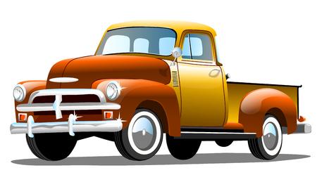 Old cargo retro car on white background, vector illustration