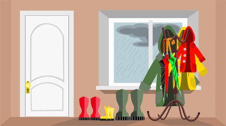 Room hallway design with door and window, vector illustration 矢量图像