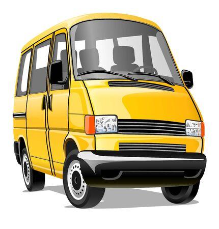 Minibús de dibujos animados aislado en un fondo blanco. Ilustración vectorial