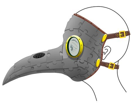 Plague doctor mask for holiday, carnival, masquerade, Halloween, vector illustration on a white background.