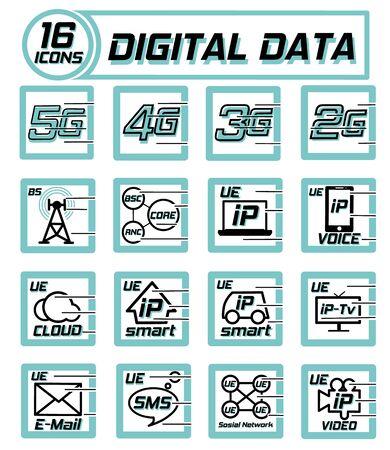 Digital data transfer icons on a white Stock Illustratie