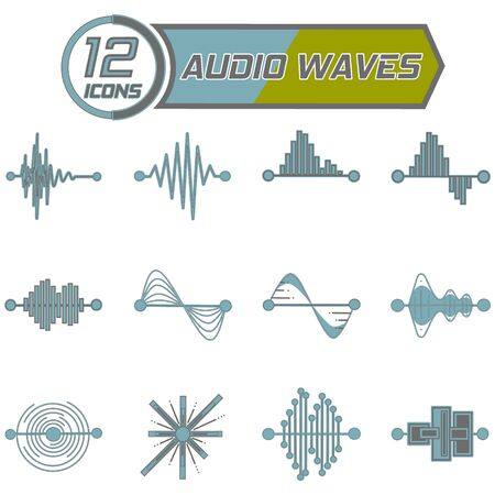 12 icons for design on the theme of sound waves, equalizer. Vector illustration on a white background. Vektorové ilustrace