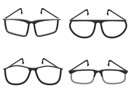 Frames icons for modern glasses of different shapes. Vector illustration on a white background.  イラスト・ベクター素材