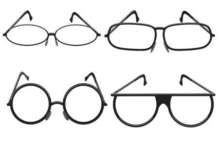 Frames icons for modern glasses of different shapes. Vector illustration on a white background. Ilustração
