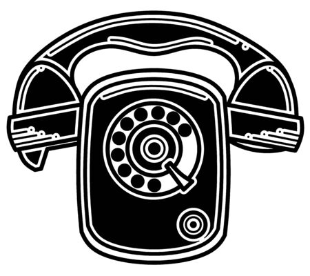 Black silhouette icon of a vintage telephone. Vector illustration isolated on a white background. Banque d'images - 140561298