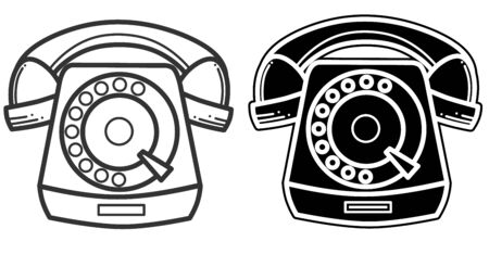 Black silhouette icon of a vintage telephone. Vector illustration isolated on a white background. Banque d'images - 140561802