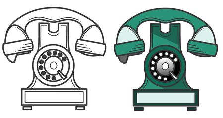 Black silhouette icon of a vintage telephone. Vector illustration isolated on a white background. Banque d'images - 140561311