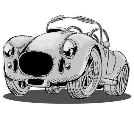 Cartoon sporty retro car convertible. Black-white vector illustration in isolation, on a white background.