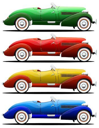 Old retro convertible car of different colors, side view Vecteurs