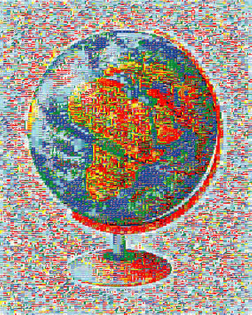 All flags of the world in a mosaic photo
