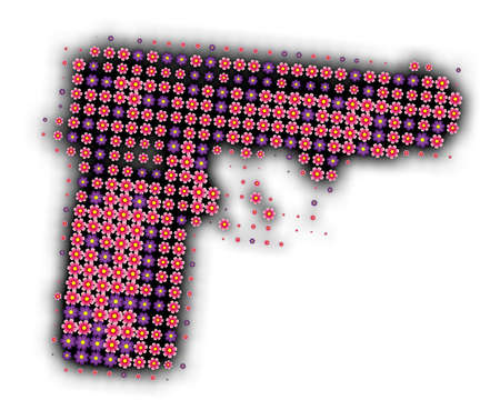 a gun made of many peacefull flowers