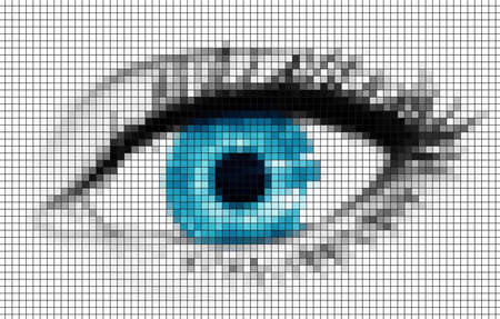 blue eye made of many colorfull squares