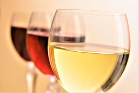 three wine glass red rosè and white drink beverage