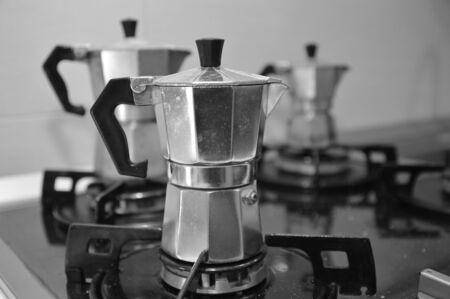 thre typical italian coffee machine moka for italian expresso
