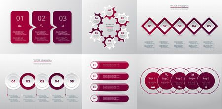 Collection of infographic templates for business with 3, 4, 5 and 6 options or steps. Vector illustration can be used for diagram, graph, presentation and chart.