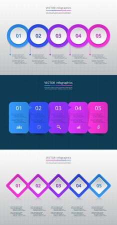 Step by step infographic set. Timeline templates with 5 numbers and text can be used for workflow layout, diagram, chart, number options, web design, business presentation, trainings. Illustration