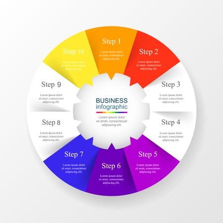 numbers abstract: Vector infographic template for diagram, graph, presentation and chart. Business concept with 10 options, parts, steps or processes. Illustration