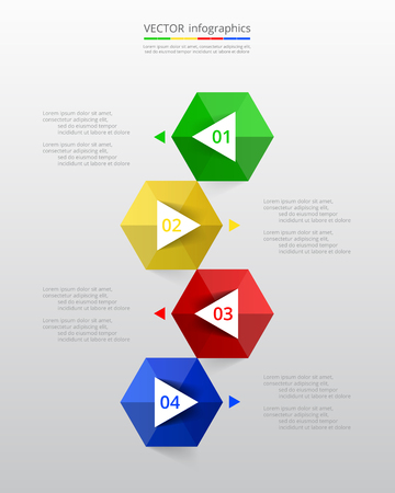 numbers abstract: Abstract infographic template with four steps for success. Business timeline template with 4 options for brochure, diagram, workflow, presentation, web design, training. Vertical version.
