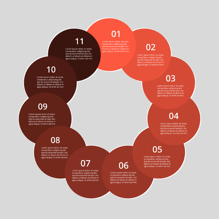 Step by step infographic. Red template with 11 numbers can be used for workflow layout, diagram, chart, number options, web design, business presentation, trainings.