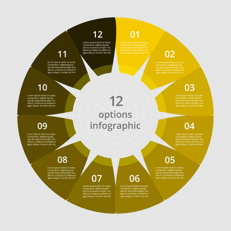 Step by step infographic. Yellow template with 12 numbers can be used for workflow layout, diagram, chart, number options, web design, business presentation, trainings.