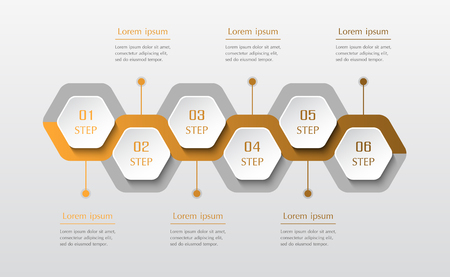 Infographic design elements for your business data with 6 options, parts, steps or processes. Vector timeline illustration.  イラスト・ベクター素材