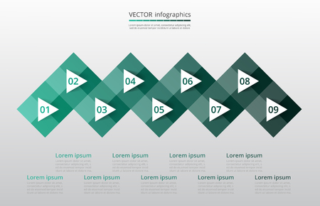 Step by step infographic. Template with 9 numbers can be used for workflow layout, diagram, chart, number options, web design, business presentation, trainings.