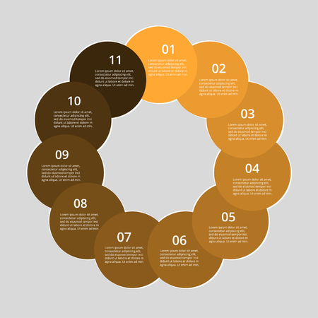 Step by step info-graphic. Orange template with 11 numbers. Can be used for workflow layout, diagram, chart, number options, web design, business presentation, training. Illustration