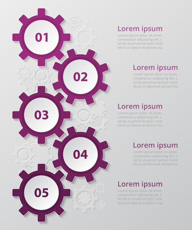 Step by step infographic. Template with 5 numbers can be used for workflow layout, diagram, chart, number options, web design, business presentation, trainings. Ilustrace
