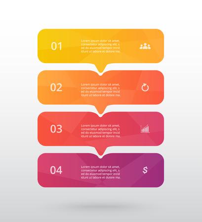 Vektorlinienpfeile Infografik. Vorlage für Diagramm, Grafik, Präsentation und Diagramm. Geschäftskonzept mit 4 Optionen, Teilen, Schritten oder Prozessen.