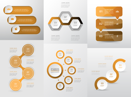 Set of modern infographic vector elements with 3, 4 and 5 options for web, print, magazine, flyer, brochure, media, marketing and advertising concepts.