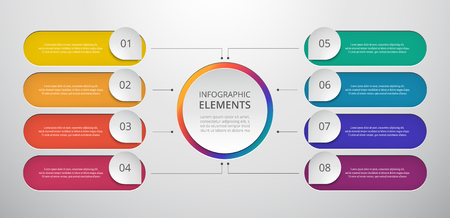Vector zakelijke sjabloon voor presentatie. Abstracte elementen van grafiek, diagram en grafiek met 8 stappen, opties, onderdelen of processen. Creatief concept voor infographic.