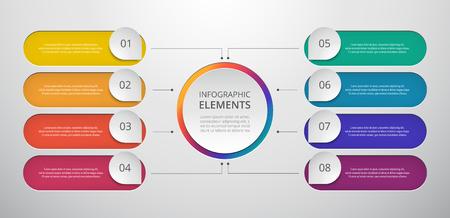 Vektorgeschäftsschablone für die Präsentation. Abstrakte Elemente von Diagrammen, Diagrammen und Diagrammen mit 8 Schritten, Optionen, Teilen oder Prozessen. Kreatives Konzept für Infografik.