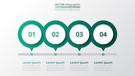 Modèle de jalons infographiques abstraits avec 4 étapes pour réussir. Diapositive d'entreprise avec quatre options pour brochure, diagramme, flux de travail, chronologie, conception de sites Web.