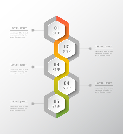 Infographic design elements for your business data with 5 options, parts, steps or processes. Vecrtical timeline illustration.