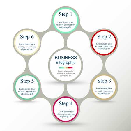 Metaball for diagram, graph, presentation and chart. Business concept with 6 options, parts, steps or processes