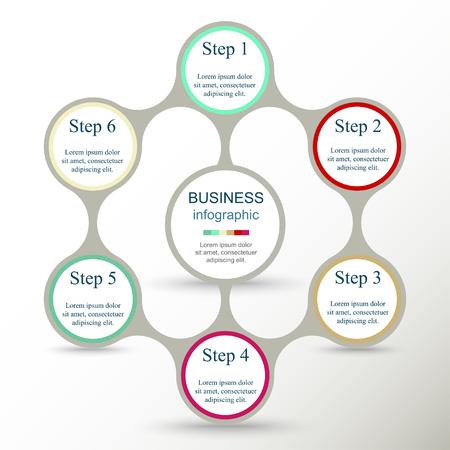 Metaball para diagrama, gráfico, presentación y gráfico. Concepto de negocio con 6 opciones, piezas, pasos o procesos.