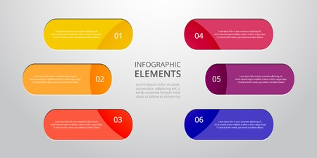 Vector round business template for presentation. Abstract elements of graph, diagram and chart with 6 steps, options, parts or processes. Creative concept for infographic.