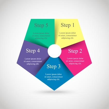 Vorlage für Diagramm, Grafik, Präsentation und Diagramm. Geschäftskonzept mit 5 Optionen, Teilen, Schritten oder Prozessen. Vektor-Infografik