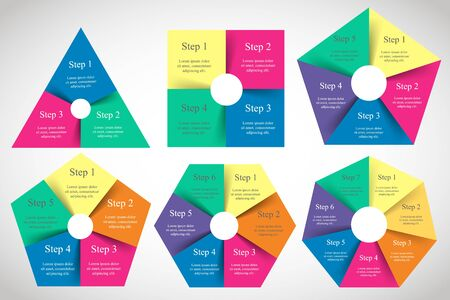 Vector infographics set. Templates for diagram, graph, presentation and chart with 3, 4, 5, 6 and 7 options or steps