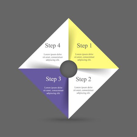 Template for diagram, graph, presentation and chart. Business concept with 4 options, parts, steps or processes. Иллюстрация