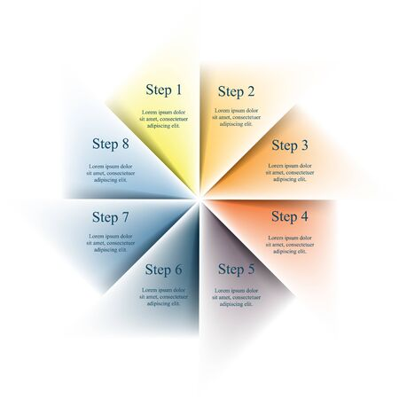 Template for diagram, graph, presentation and chart. Business concept with 8 options, parts, steps or processes.