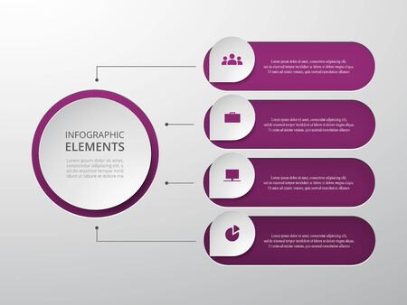 Vector business template for presentation. Abstract elements of graph, diagram and chart with 4 steps, options, parts or processes. Creative concept for infographic.