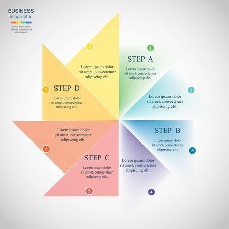 Vorlage für Diagramm, Grafik, Präsentation und Diagramm. Geschäftskonzept mit 8 Optionen, Teilen, Schritten oder Prozessen. Vektorgrafik