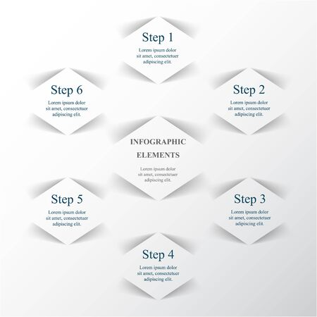 Vector infographic. Template for diagram, graph, presentation and chart. Business concept with 6 options, parts, steps or processes.  Illusztráció