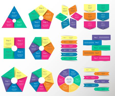 Vector infographics set. Templates for diagram, graph, presentation and chart. Business concept with 3, 4, 5, 6 and 7 options, parts, steps or processes.