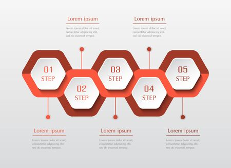 Infographic design elements for your business data with 5 options, parts, steps or processes. Horizontal timeline illustration.